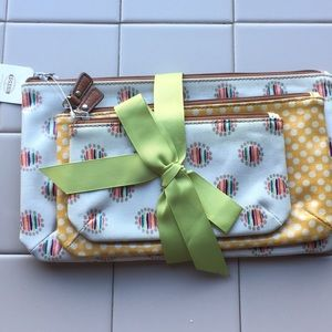 Fossil set of 3 cosmetic bags key per trpl pouch""
